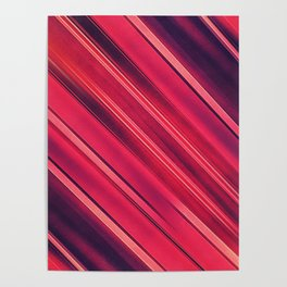 Moder Red / Black Stripe  Abstract Stream Lines Textuer Design Poster