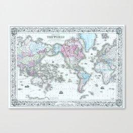 Vintage World Map 1855 Canvas Print