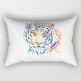 Tiger - Rainbow Tiger - Colorful Watercolor Painting Rectangular Pillow