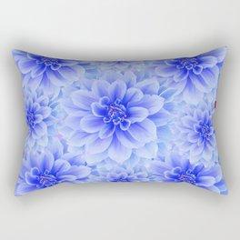 BLUE WHITE DAHLIA FLOWERS IN CHOCOLATE BROWN Rectangular Pillow