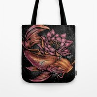 koi fish Tote Bags featuring Koi Fish by Absorb81
