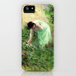 Gisors, France Woman Picking Flowers - Maximilien Luce iPhone Case