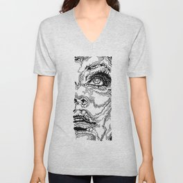Topographic Face Unisex V-Neck