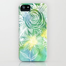 Watercolor Green and Yellow Bloom Floral Botanical Line Drawing iPhone Case