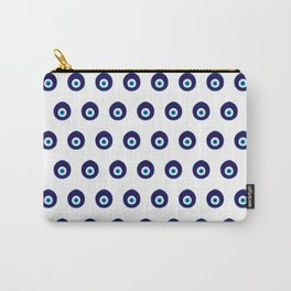 Blue Evil Eye Bead Pattern Carry-All Pouch