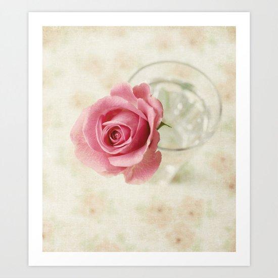Vintage Textured Rose  Art Print