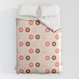 Cute Little Donuts on Cream Comforters