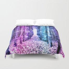 Magical Forest : Aqua Periwinkle Purple Pink Ombre Sparkle Duvet Cover