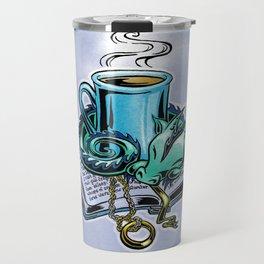 Snuggly dragon and a coffee cup Travel Mug