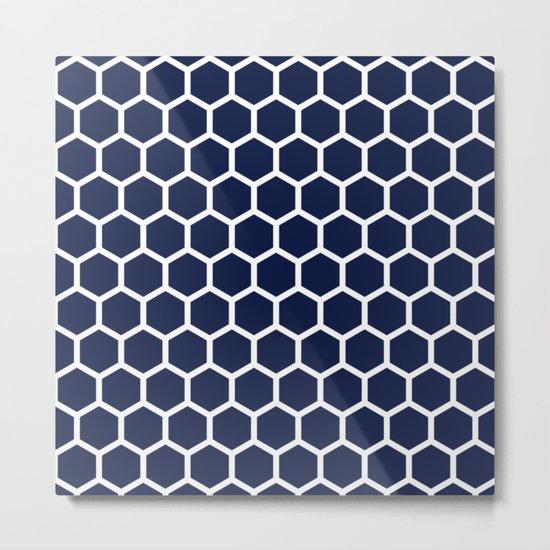 Indigo Navy Blue Honeycomb Metal Print