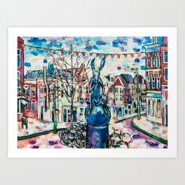 Rabbit in Utrecht city Art Print