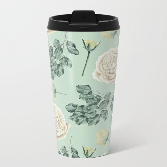 Rose Pattern Cream + Mint Green Metal Travel Mug