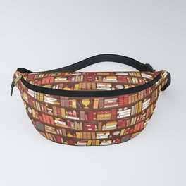 Book Case Pattern - Red and Gold Fanny Pack