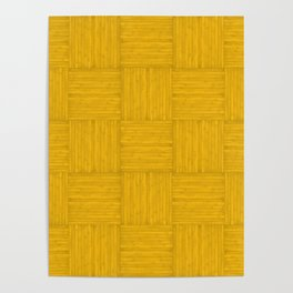 Amber Yellow Faux Bois Wood Pattern Poster