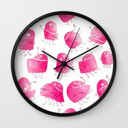 Pink Underbite Monsters Wall Clock