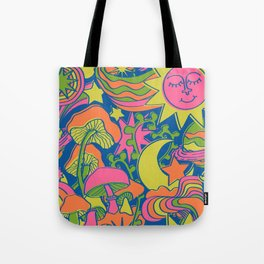 Psychedelic Daydream in Neon + Blue Tote Bag