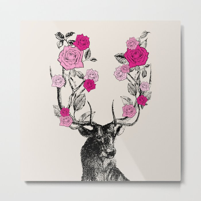 The Stag and Roses | Pink Metal Print