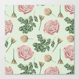 Rose Garden Delight Mint Green + Pink Canvas Print