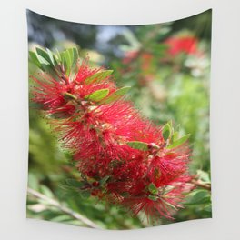 Calliandra Haematocephala Red Powderpuff  Wall Tapestry