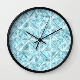 Blue Watercolor Dash Squares Wall Clock