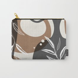 Abstract - Leaves and Vases in Grey  and Cinnamon 3 Carry-All Pouch