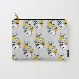 Modern, Blue, Yellow and White Skull Design Carry-All Pouch