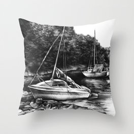 Moored Yachts Throw Pillow