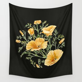 California Poppies on Charcoal Black Wall Tapestry