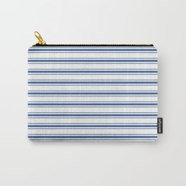 Mattress Ticking Wide Horizontal Stripe in Dark Blue and White Carry-All Pouch