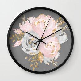 Night Rose Garden Gray Wall Clock