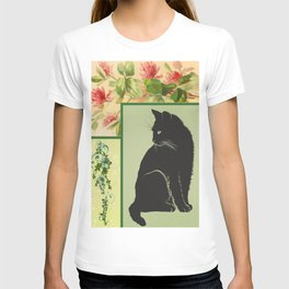 Patchwork Flowers and Cat T-shirt