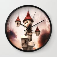 castle in the sky Wall Clocks featuring Castle in the Sky by Heidy Curbelo