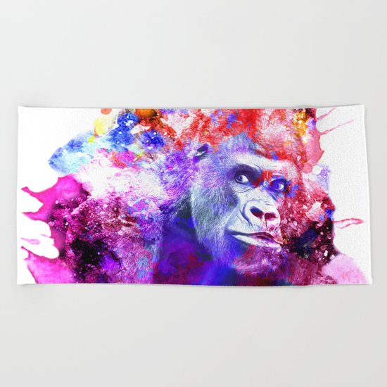 Gorillas are some of the most powerful and striking animals Beach Towel