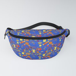Funky, Fresh Fitness, Blue, Orange Red, Sports and Retro Style Fanny Pack