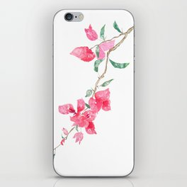red  pink  bougainvillea watercolor iPhone Skin