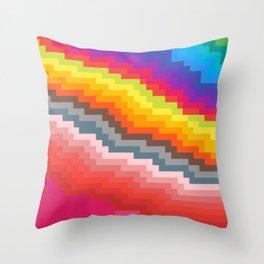 Pixel art rainbow Throw Pillow