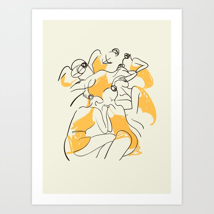The Ballerinas-Minimal Line Drawing Art Print