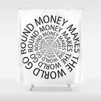 scarface Shower Curtains featuring Money World by Text Guy