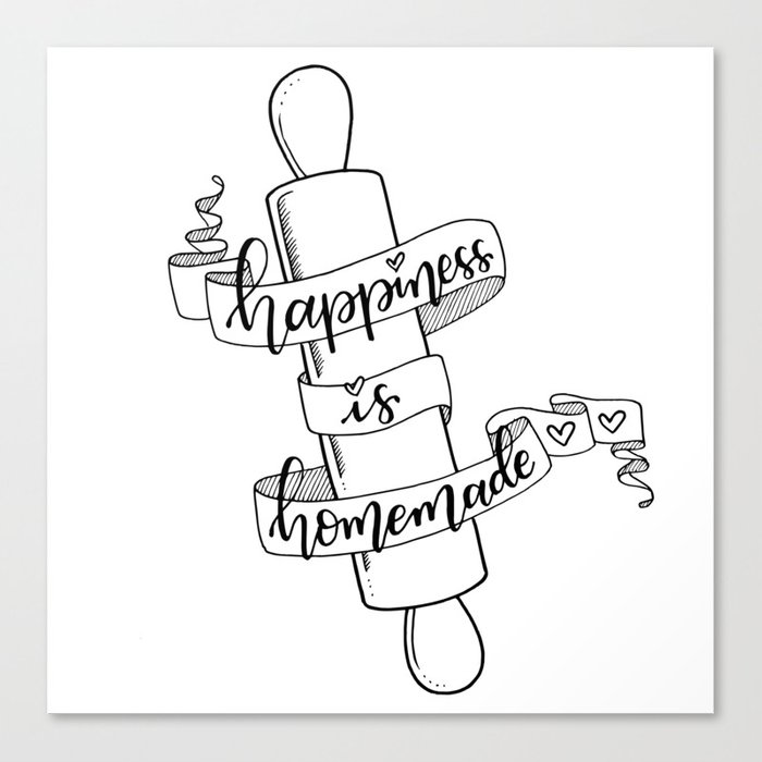 graphic about Happiness is Homemade titled Joy is Handmade Canvas Print as a result of artbytheepan