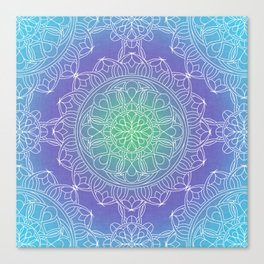 White Lace Mandala in Blue, Green and Purple Canvas Print