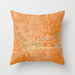 Spokane, WA, USA, Gold, Blue, City, Map Throw Pillow