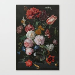 Still life with flowers in a glass vase, Jan Davidsz. de Heem, 1650 - 1683 Canvas Print