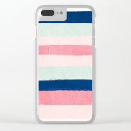 Painted stripes trendy color palette minimal striped decor nursery home Clear iPhone Case