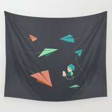 Girl Watching Paper Planes Wall Tapestry