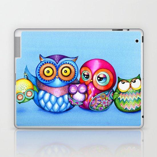 Crazy Owl Family  Laptop & iPad Skin