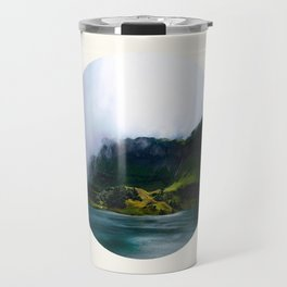Mid Century Modern Round Circle Photo Green Cliffs Meeting Turquoise Waters Travel Mug