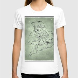 aged canal map T-shirt