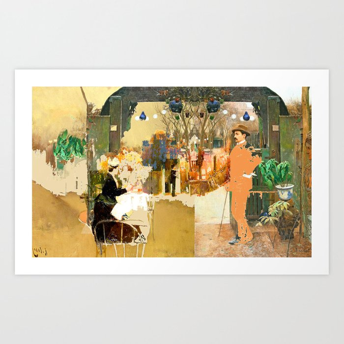 the chance meeting of a Santiago Rusiñol and a Santiago Rusiñol  Art Print