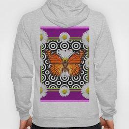 Purple Monarch Butterfly Shasta Daises Decor Art Hoody
