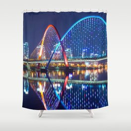 Amazing Expo Bridge Across Gap River Daejeon Skyline South Korea Reflection Shower Curtain